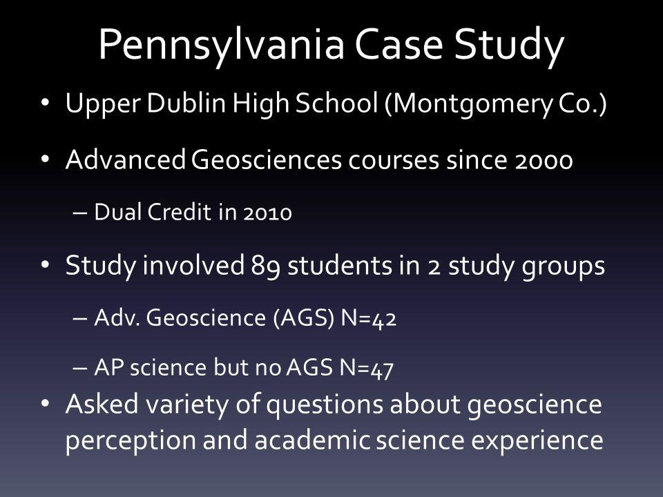 Pennsylvania Case Study Upper Dublin High School (Montgomery Co.) Advanced Geosciences courses since 2000 – Dual Credit in 2010 Study involved 89 stud
