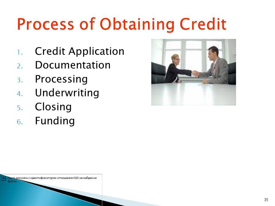 1. Credit Application 2. Documentation 3. Processing 4. Underwriting 5. Closing 6. Funding 35