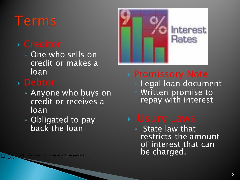 Creditor issues money/funds to the debtor for the item purchased Example: mortgage company pays seller in full, debtor then pays mortgage company monthly installments to repay the loan