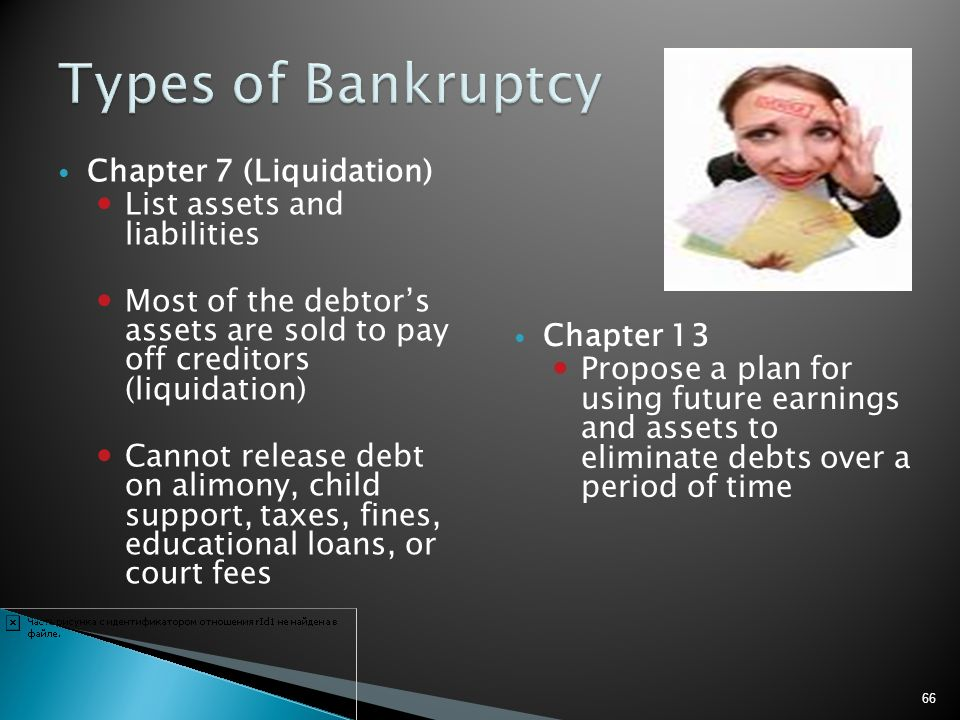 Chapter 7 (Liquidation) List assets and liabilities Most of the debtors assets are sold to pay off creditors (liquidation) Cannot release debt on alim