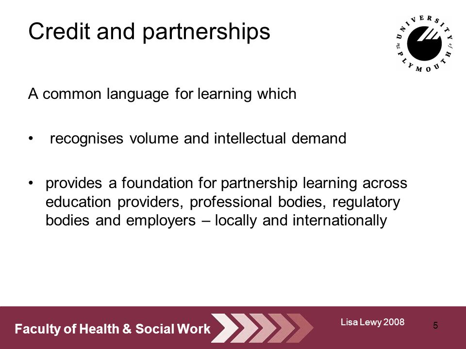Faculty of Health & Social Work Credit and partnerships A common language for learning which recognises volume and intellectual demand provides a foundation for partnership learning across education providers, professional bodies, regulatory bodies and employers – locally and internationally 5 Lisa Lewy 2008