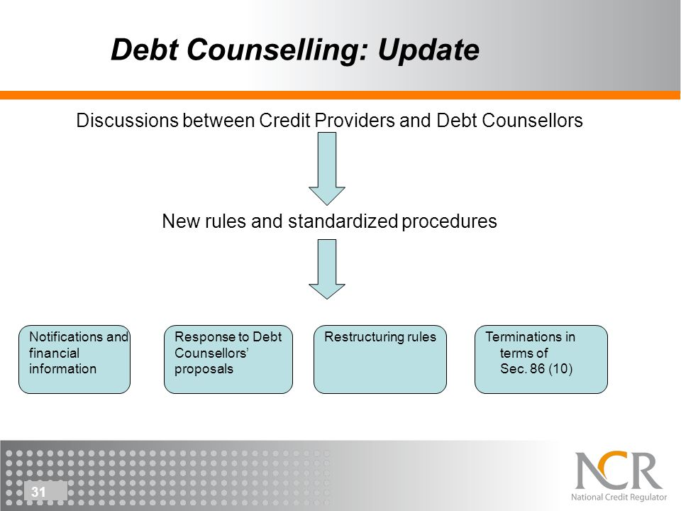 31 Debt Counselling: Update Discussions between Credit Providers and Debt Counsellors New rules and standardized procedures Notifications and financial information Response to Debt Counsellors proposals Restructuring rulesTerminations in terms of Sec.
