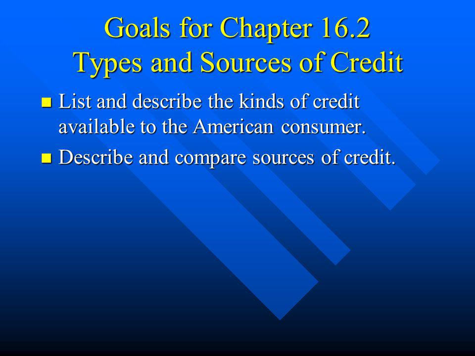 Goals for Chapter 16.2 Types and Sources of Credit List and describe the kinds of credit available to the American consumer. List and describe the kin