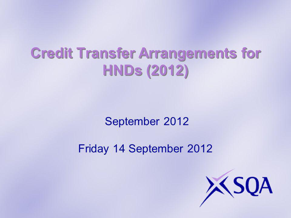 Credit Transfer Arrangements for HNDs (2012) September 2012 Friday 14 September 2012
