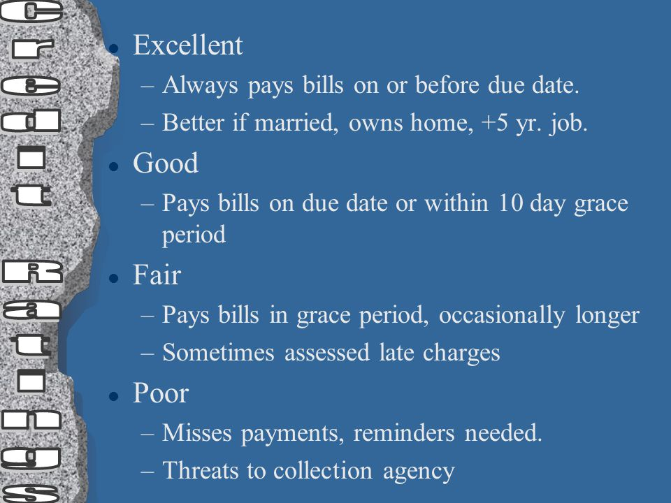 l Excellent –Always pays bills on or before due date. –Better if married, owns home, +5 yr. job. l Good –Pays bills on due date or within 10 day grace
