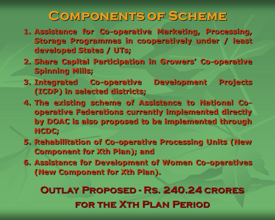 Specific Scheme being implemented by NCDC NCDC implements Central Sector Plan Scheme of assistance to NCDC programmes for co-operative development.