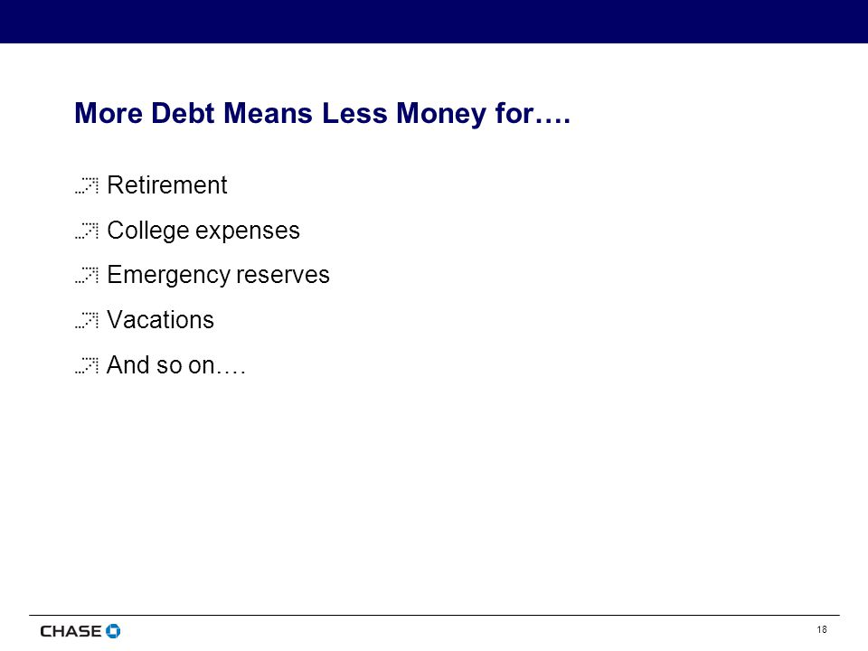 18 More Debt Means Less Money for….