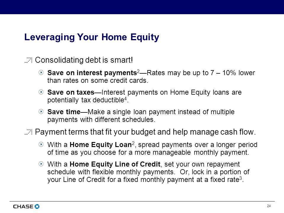 24 Leveraging Your Home Equity Consolidating debt is smart.