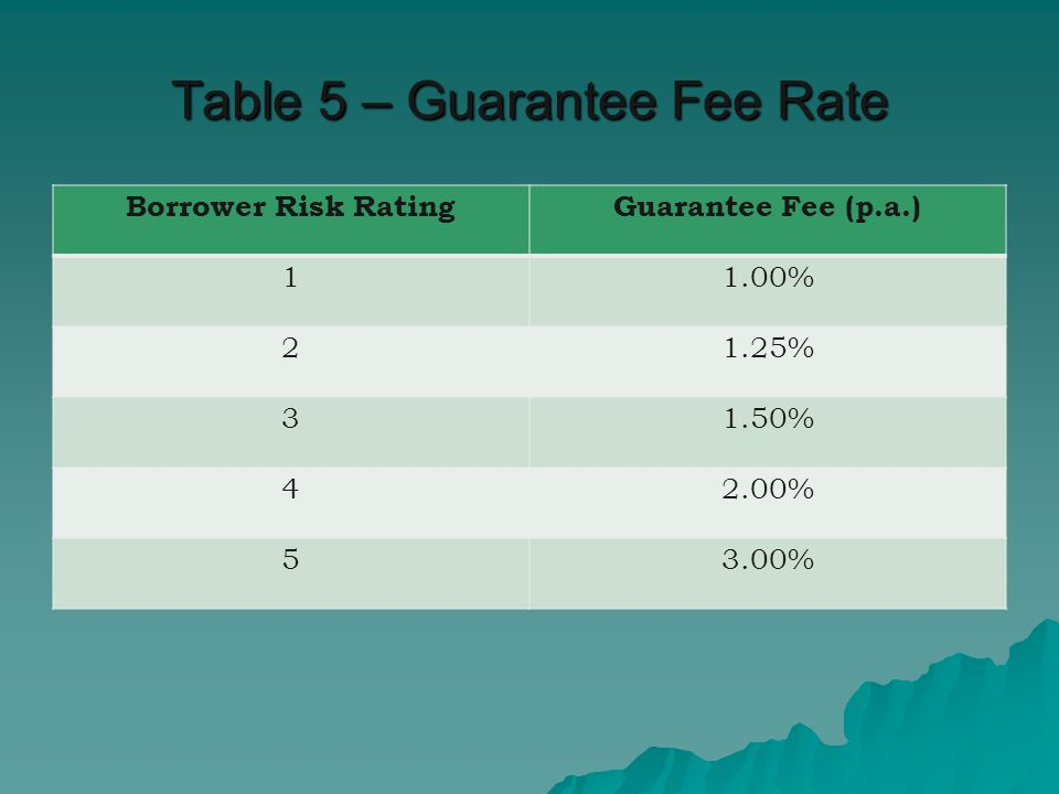 Table 5 – Guarantee Fee Rate Borrower Risk RatingGuarantee Fee (p.a.) 11.00% 21.25% 31.50% 42.00% 53.00%