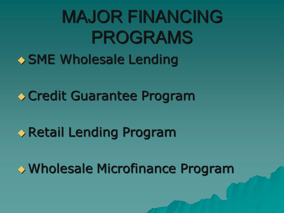 MAJOR FINANCING PROGRAMS SME Wholesale Lending SME Wholesale Lending Credit Guarantee Program Credit Guarantee Program Retail Lending Program Retail Lending Program Wholesale Microfinance Program Wholesale Microfinance Program