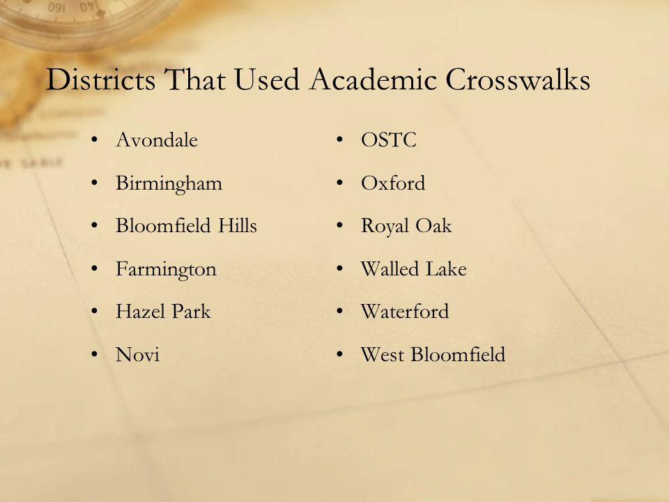 Districts That Used Academic Crosswalks Avondale Birmingham Bloomfield Hills Farmington Hazel Park Novi OSTC Oxford Royal Oak Walled Lake Waterford West Bloomfield