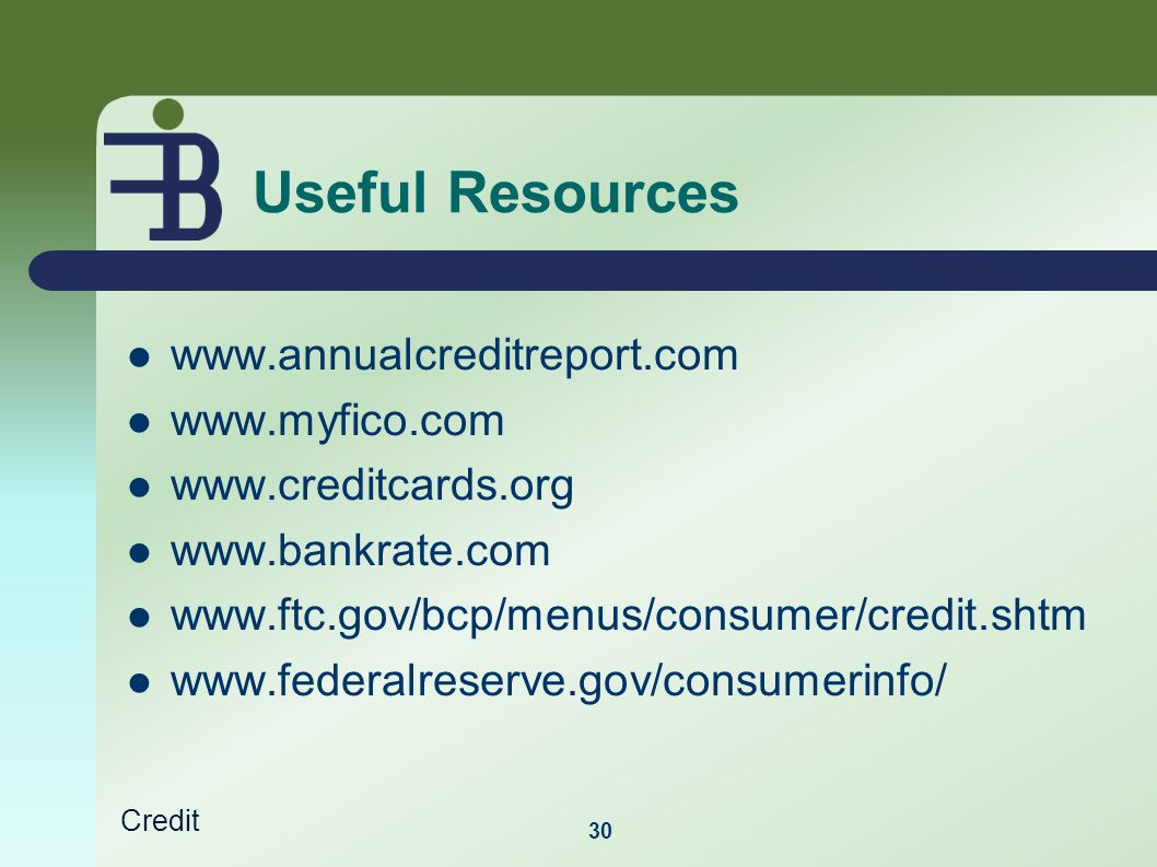 Credit Useful Resources