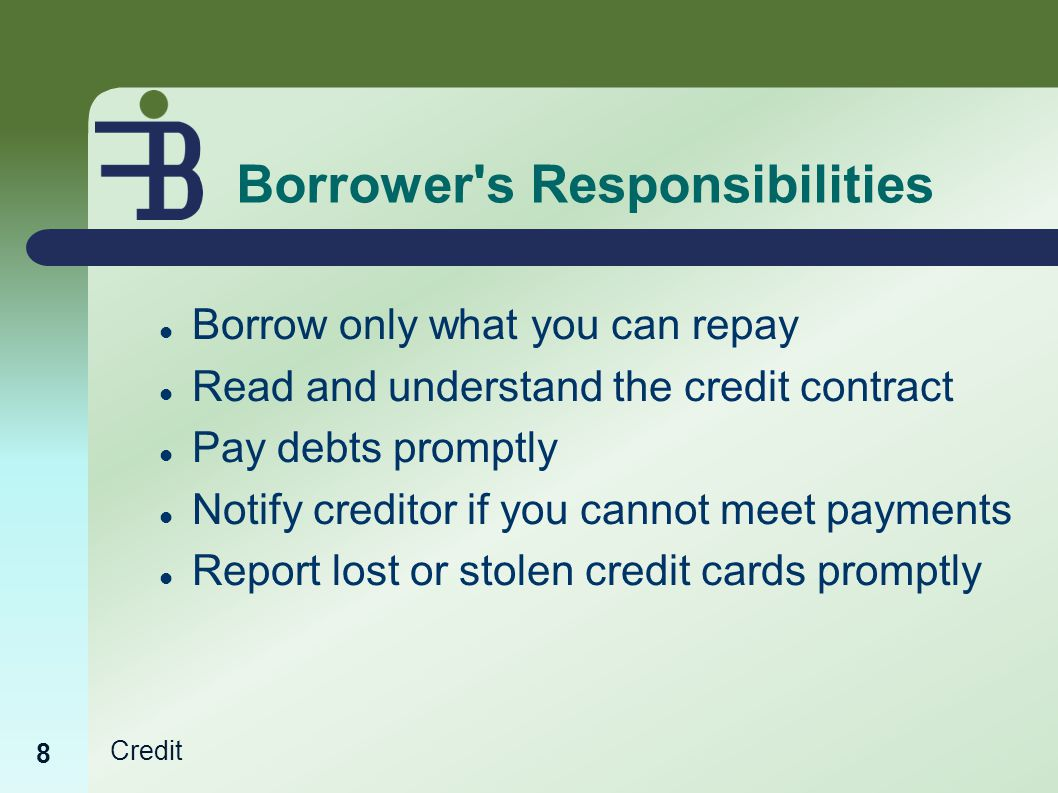 Credit Borrower s Responsibilities Borrow only what you can repay Read and understand the credit contract Pay debts promptly Notify creditor if you cannot meet payments Report lost or stolen credit cards promptly 8