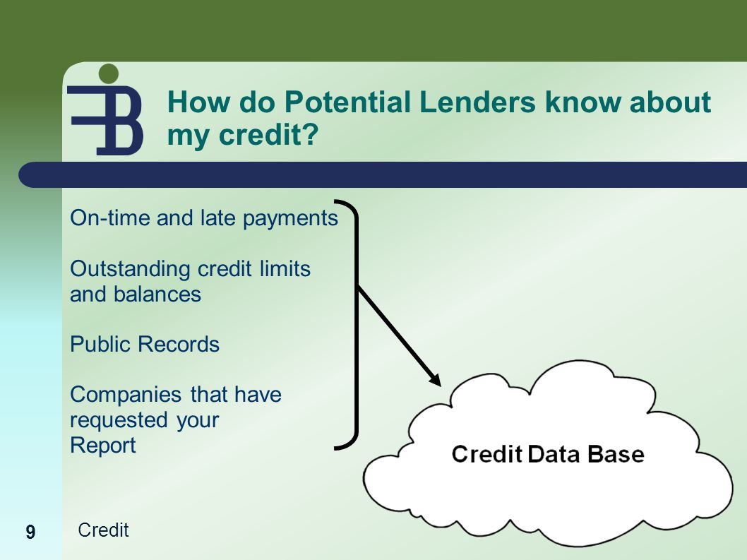 Credit How do Potential Lenders know about my credit.