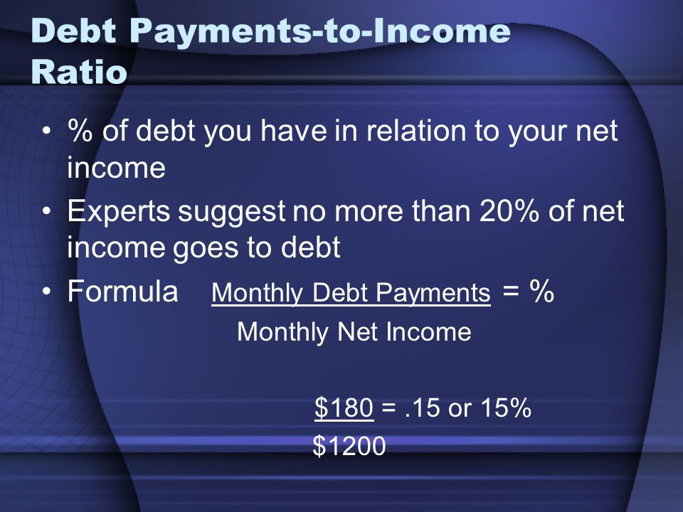Debt Payments-to-Income Ratio % of debt you have in relation to your net income Experts suggest no more than 20% of net income goes to debt Formula Monthly Debt Payments = % Monthly Net Income $180 =.15 or 15% $1200