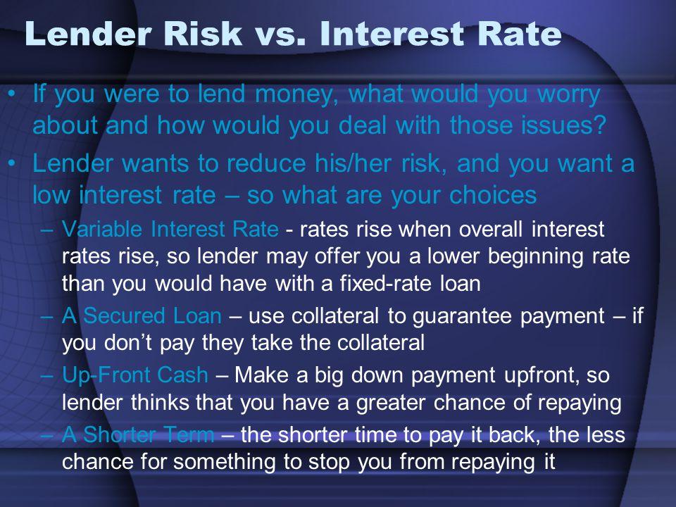 Lender Risk vs.