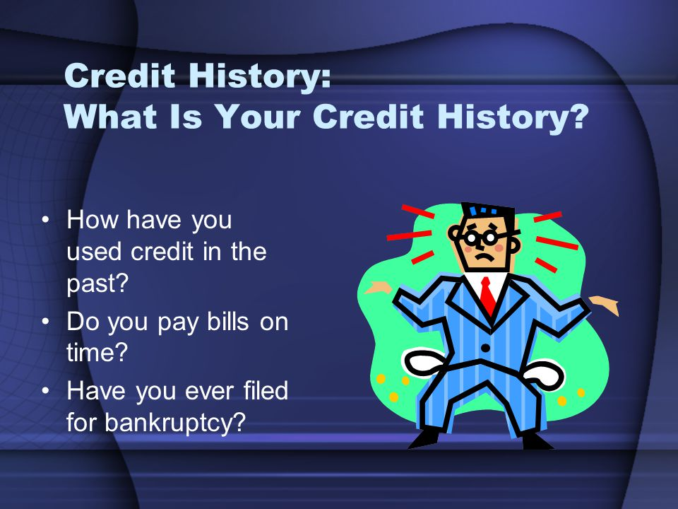 Credit History: What Is Your Credit History.How have you used credit in the past.