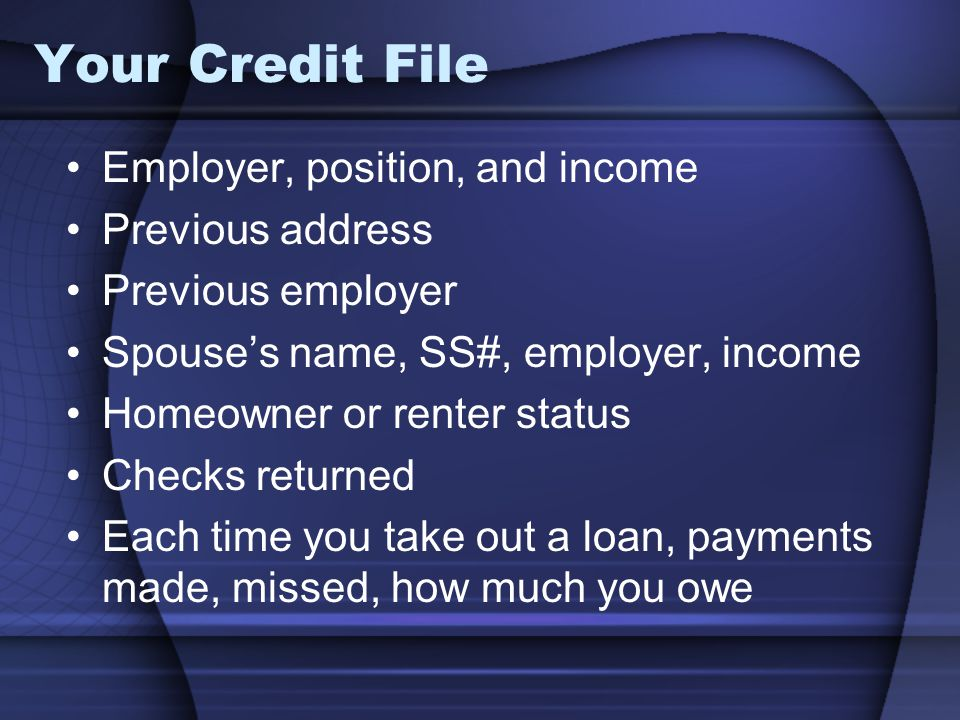 Your Credit File Employer, position, and income Previous address Previous employer Spouses name, SS#, employer, income Homeowner or renter status Checks returned Each time you take out a loan, payments made, missed, how much you owe