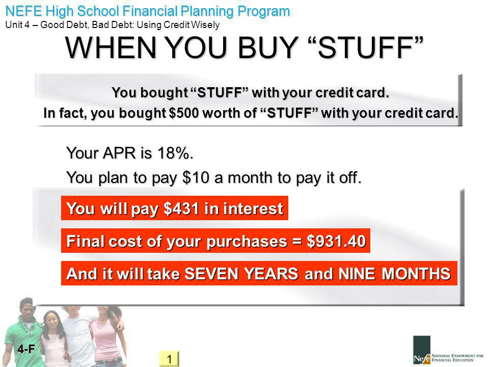 NEFE High School Financial Planning Program Unit 4 – Good Debt, Bad Debt: Using Credit Wisely 4-F WHEN YOU BUY STUFF In fact, you bought $500 worth of STUFF with your credit card.