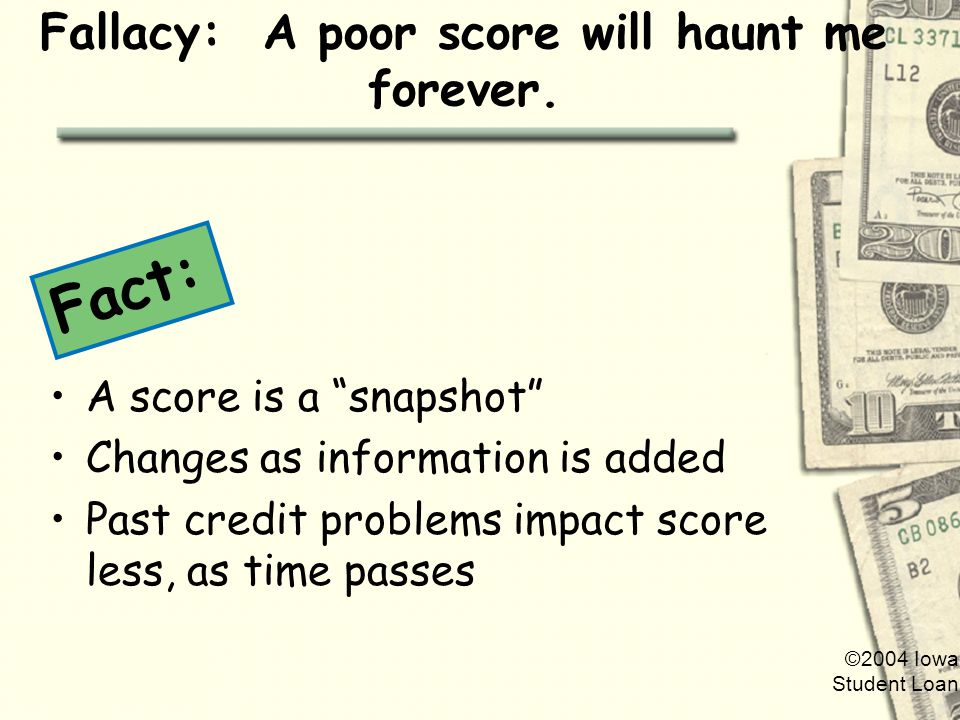 ©2004 Iowa Student Loan Fallacy: A poor score will haunt me forever.