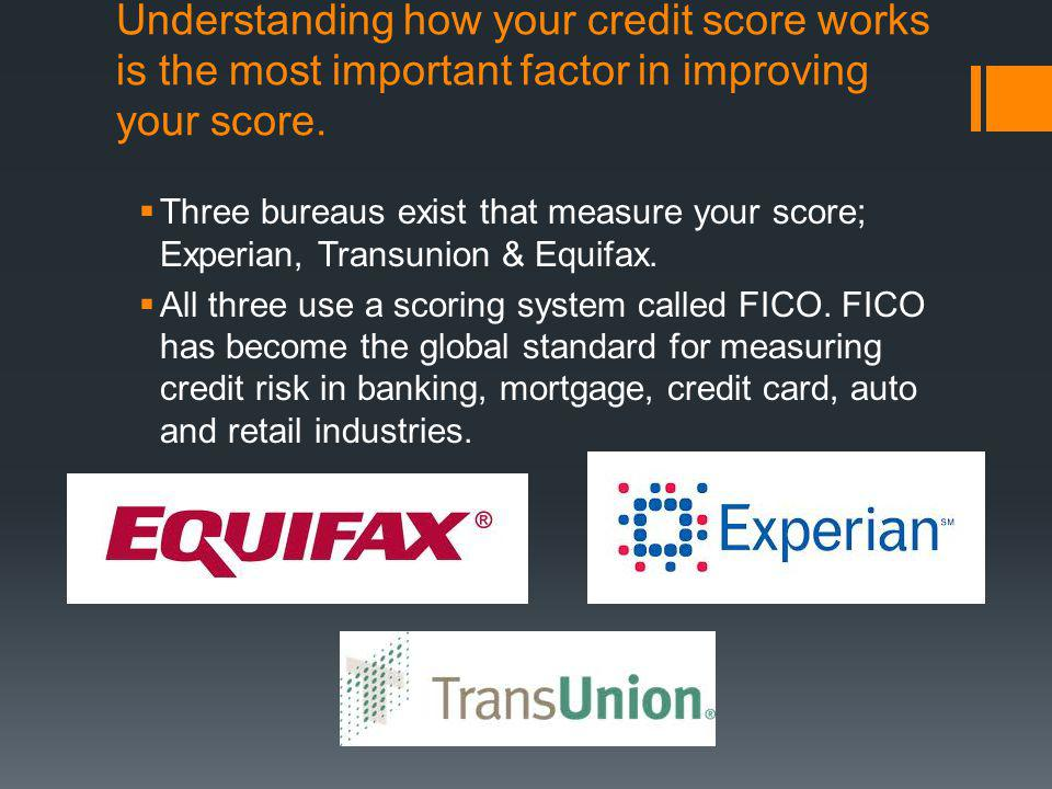 Understanding how your credit score works is the most important factor in improving your score. Three bureaus exist that measure your score; Experian,