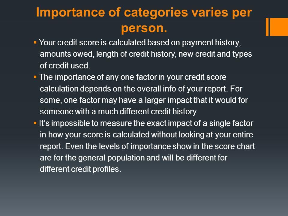 Importance of categories varies per person. Your credit score is calculated based on payment history, amounts owed, length of credit history, new cred