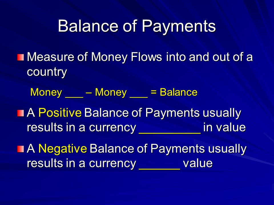 Balance of Payments Measure of Money Flows into and out of a country Money ___ – Money ___ = Balance A Positive Balance of Payments usually results in a currency _________ in value A Negative Balance of Payments usually results in a currency ______ value