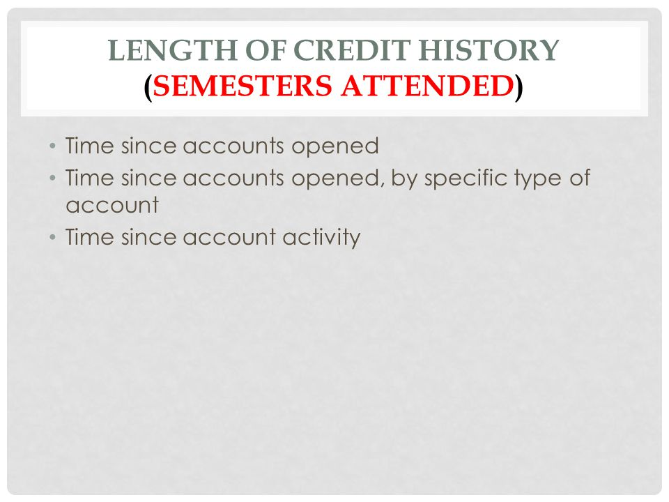 LENGTH OF CREDIT HISTORY (SEMESTERS ATTENDED) Time since accounts opened Time since accounts opened, by specific type of account Time since account ac