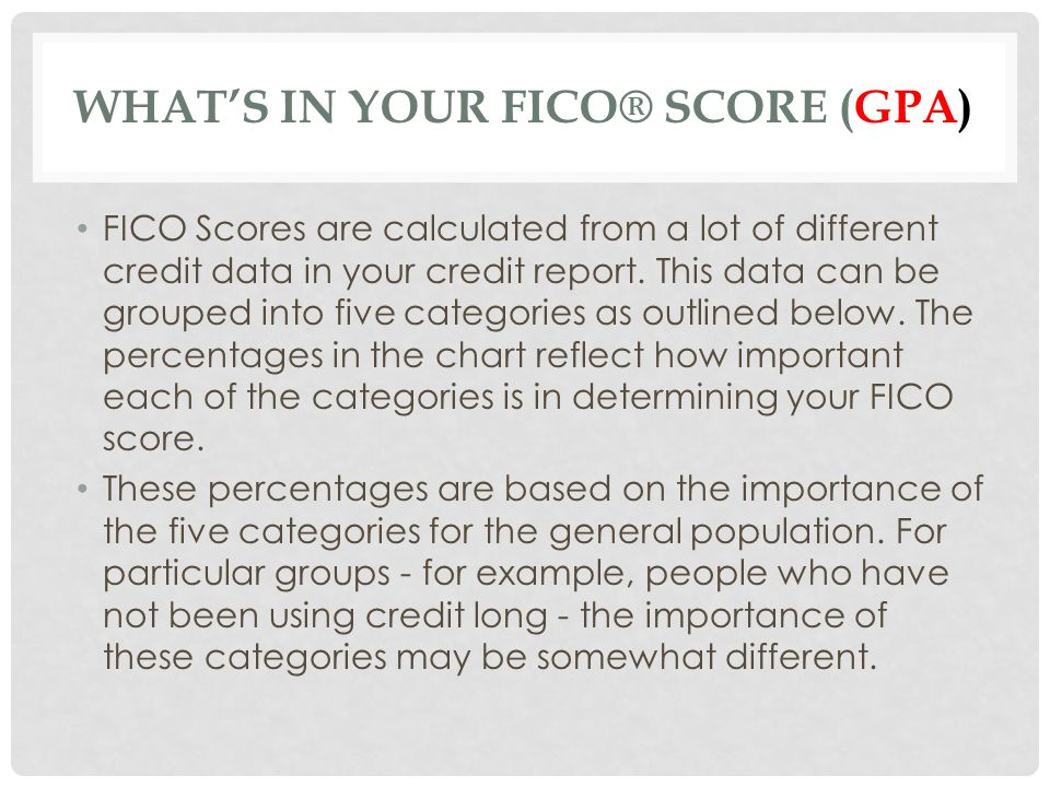 WHATS IN YOUR FICO® SCORE (GPA) FICO Scores are calculated from a lot of different credit data in your credit report. This data can be grouped into fi