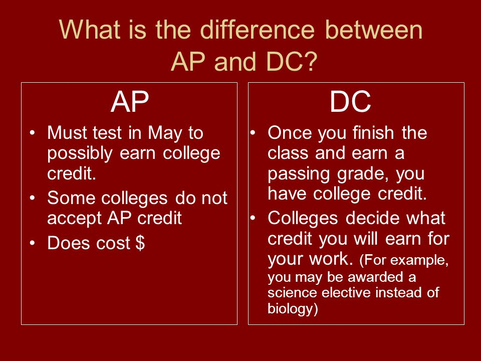 What is the difference between AP and DC. AP Must test in May to possibly earn college credit.