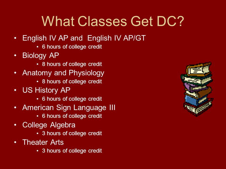 College Course Numbers English IV AP/GT/DC - English 1301/1302 Biology AP/DC - Biology 1406/1407 Anatomy/Physiology DC - Biology 2401/2402 U.S.