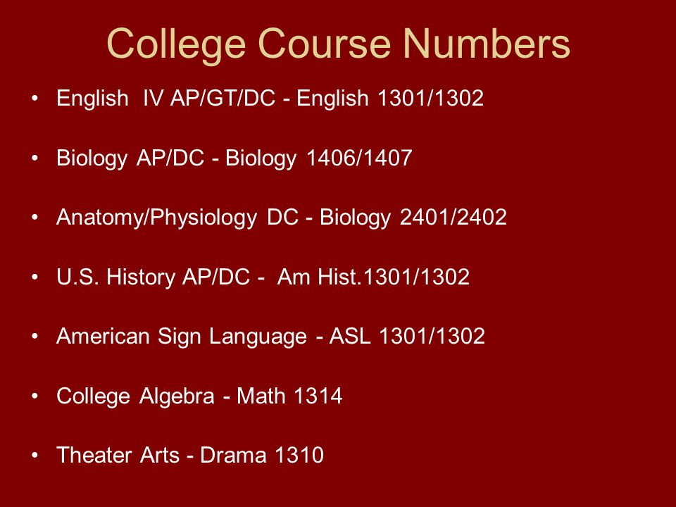 College Course Numbers English IV AP/GT/DC - English 1301/1302 Biology AP/DC - Biology 1406/1407 Anatomy/Physiology DC - Biology 2401/2402 U.S.