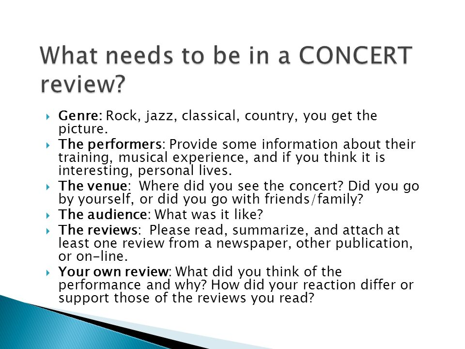 Genre: Rock, jazz, classical, country, you get the picture.