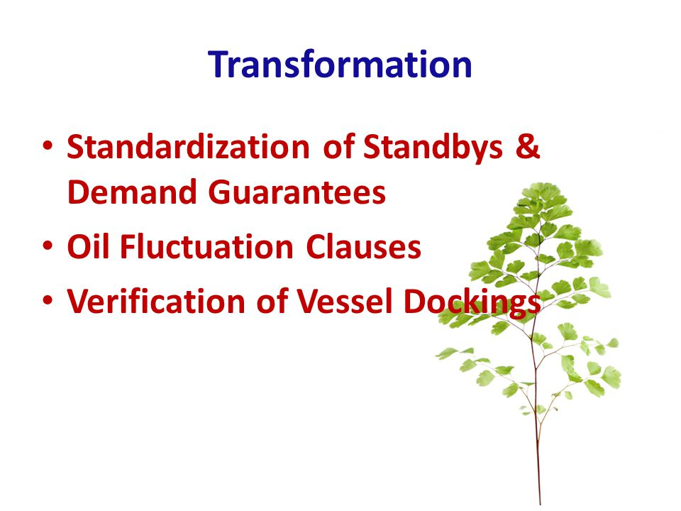 Transformation Standardization of Standbys & Demand Guarantees Oil Fluctuation Clauses Verification of Vessel Dockings