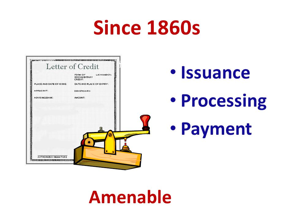 Since 1860s Issuance Processing Payment Amenable