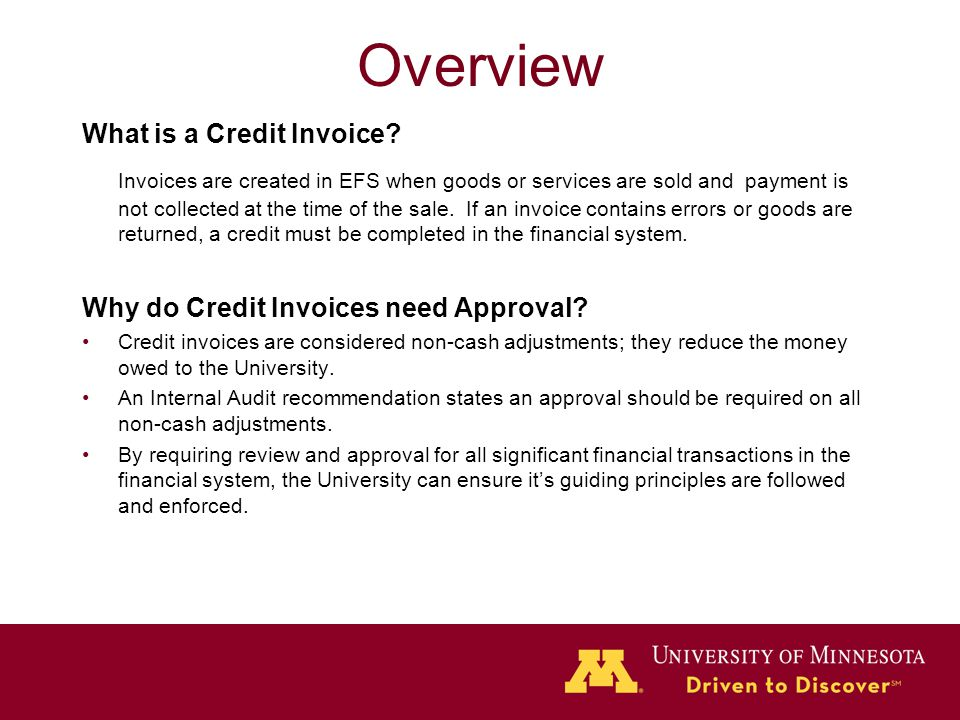 Overview What is a Credit Invoice.