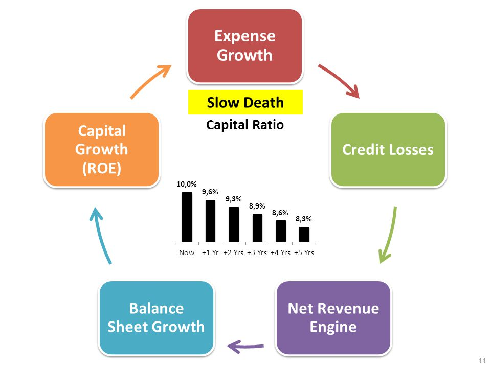 11 Slow Death Expense Growth Credit Losses Net Revenue Engine Balance Sheet Growth Capital Growth (ROE)