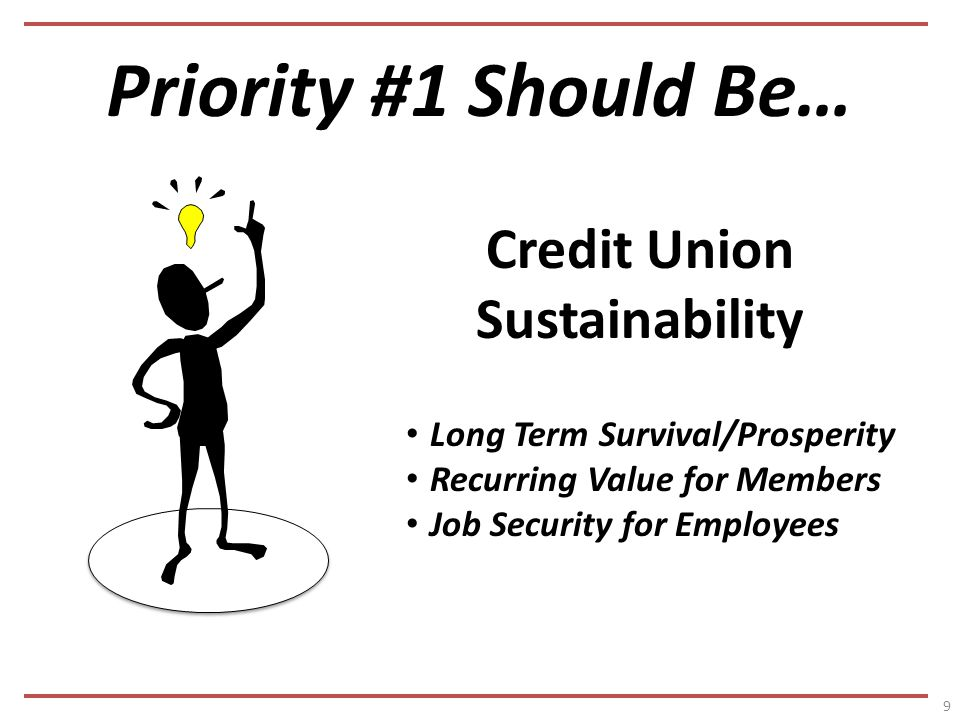 Priority #1 Should Be… 9 Credit Union Sustainability Long Term Survival/Prosperity Recurring Value for Members Job Security for Employees