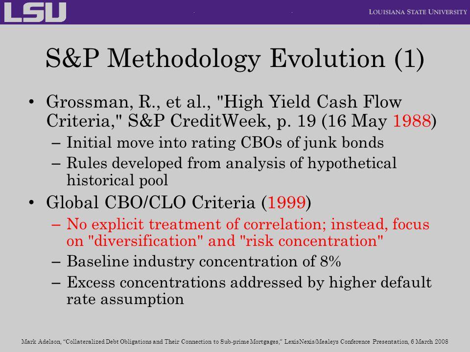 S&P Methodology Evolution (1) Grossman, R., et al.,
