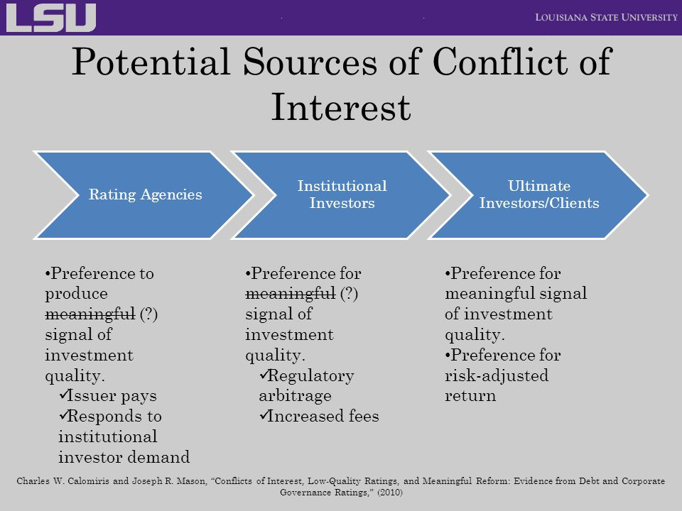 Potential Sources of Conflict of Interest Rating Agencies Institutional Investors Ultimate Investors/Clients Preference for meaningful signal of inves