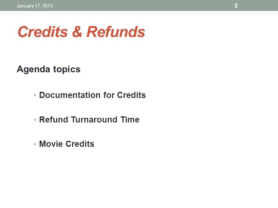 Credits & Refunds Agenda topics Documentation for Credits Refund Turnaround Time Movie Credits January 17, 2013 2