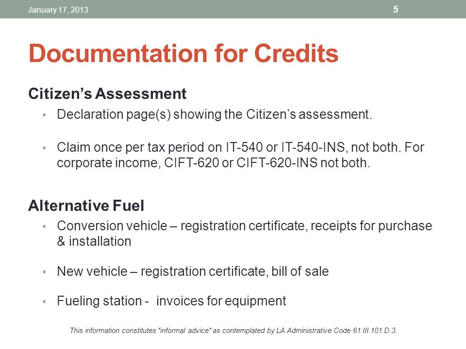 Documentation for Credits Citizens Assessment Declaration page(s) showing the Citizens assessment. Claim once per tax period on IT-540 or IT-540-INS,