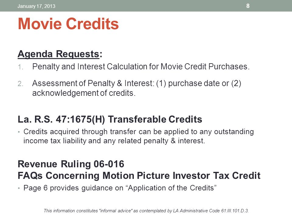 Movie Credits Agenda Requests: 1. Penalty and Interest Calculation for Movie Credit Purchases. 2. Assessment of Penalty & Interest: (1) purchase date