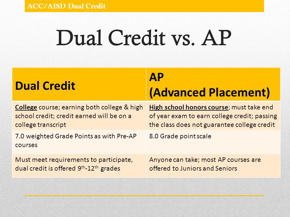 ACC/AISD Dual Credit Program Dual Credit AP (Advanced Placement) College course; earning both college & high school credit; credit earned will be on a
