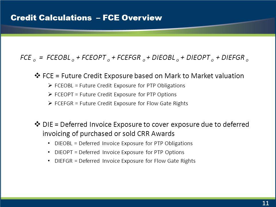 Credit Calculations – FCE Overview 11 FCE o = FCEOBL o + FCEOPT o + FCEFGR o + DIEOBL o + DIEOPT o + DIEFGR o FCE = Future Credit Exposure based on Ma