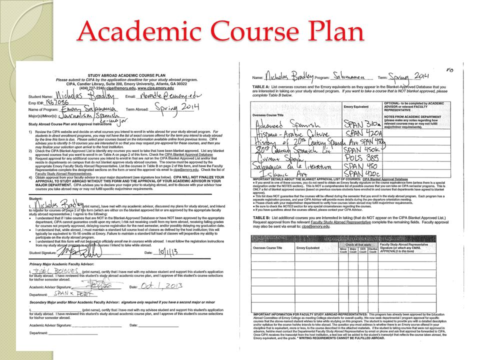 Academic Course Plan