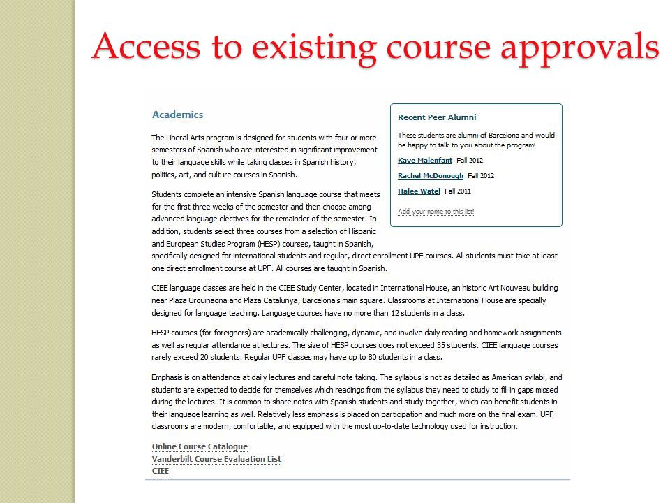 Access to existing course approvals