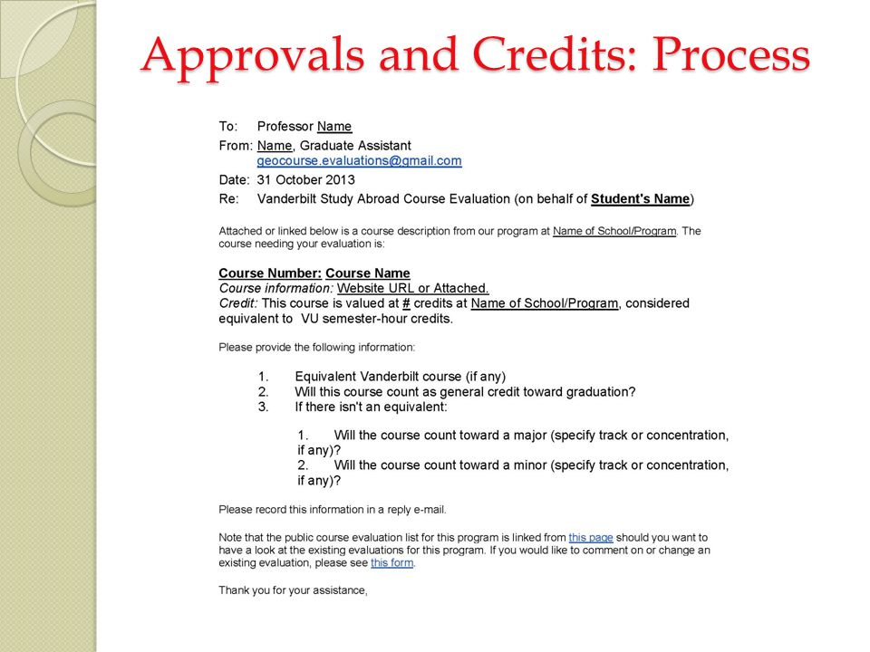Approvals and Credits: Process