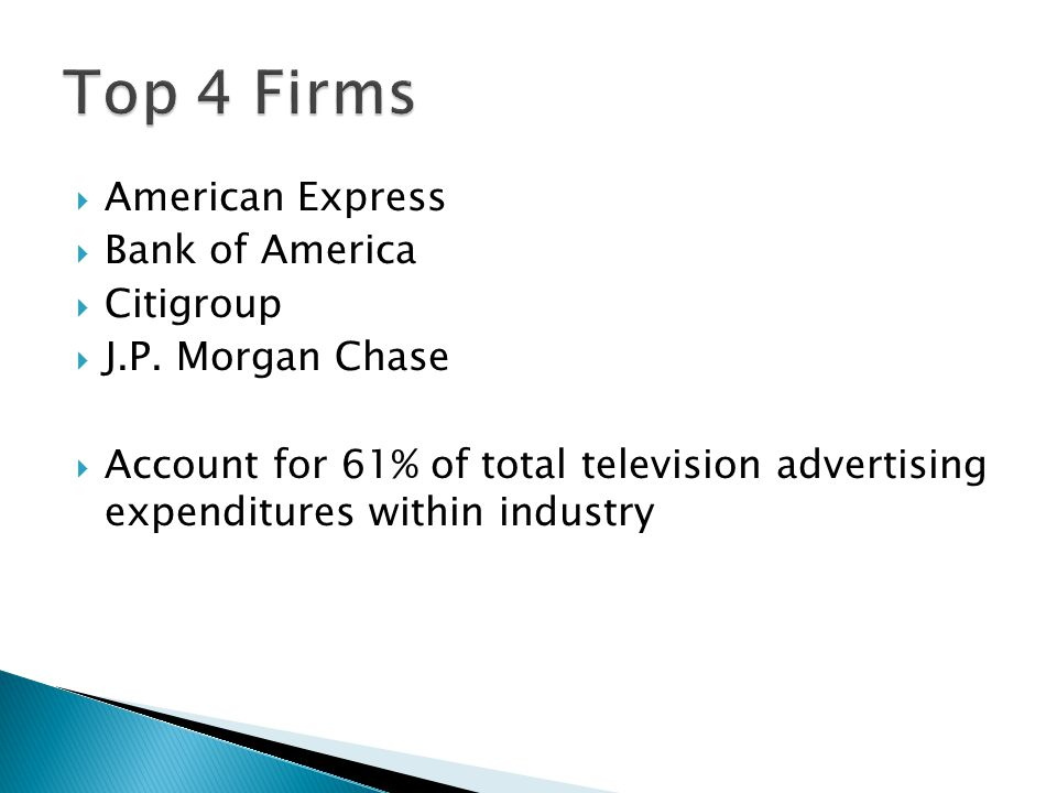 American Express Bank of America Citigroup J.P.