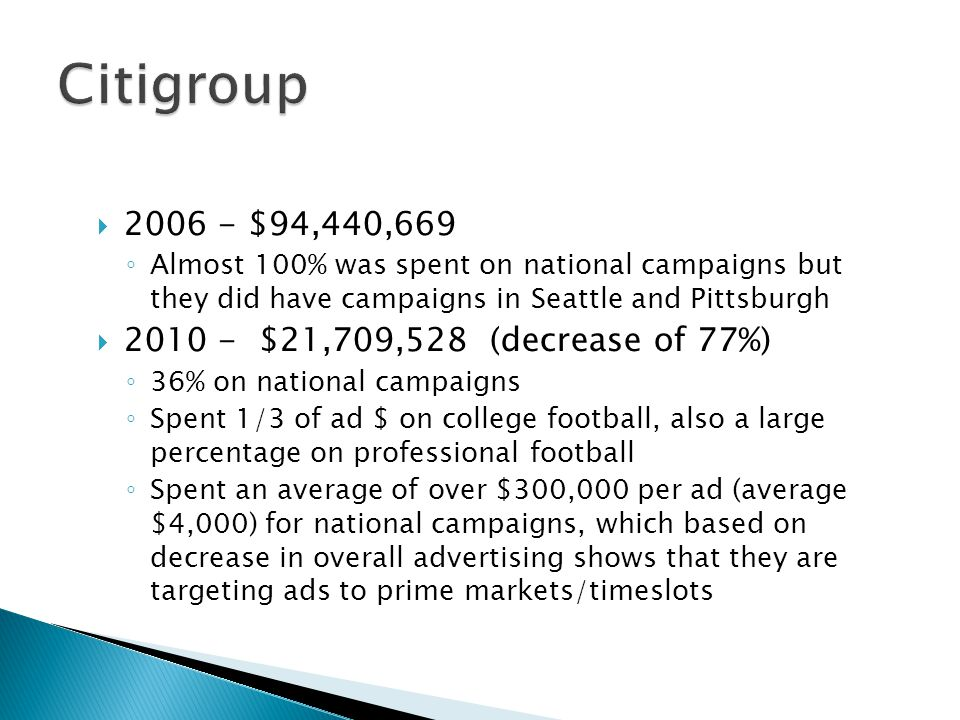 2006 - $94,440,669 Almost 100% was spent on national campaigns but they did have campaigns in Seattle and Pittsburgh 2010 - $21,709,528 (decrease of 77%) 36% on national campaigns Spent 1/3 of ad $ on college football, also a large percentage on professional football Spent an average of over $300,000 per ad (average $4,000) for national campaigns, which based on decrease in overall advertising shows that they are targeting ads to prime markets/timeslots